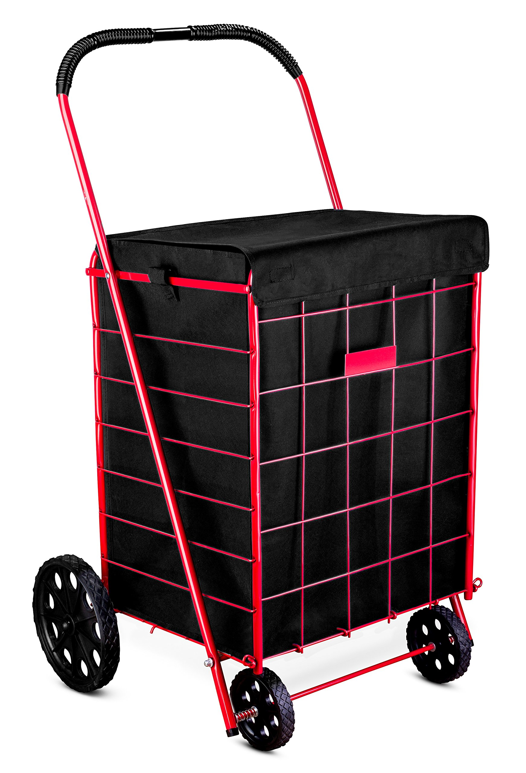 Shopping Cart Liner – 18″ X 15″ X 24″ – Square Bottom Fits Snugly Into a Standard Shopping Cart. Cover and Adjustable Straps for Easy and Secure Attachment. Made from Waterproof Material, Black