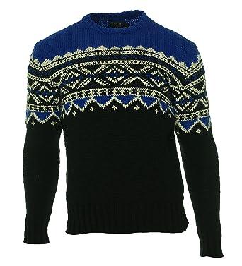 Polo Ralph Lauren Fair Isle Colorblock Mens Medium Sweater Blue M ...