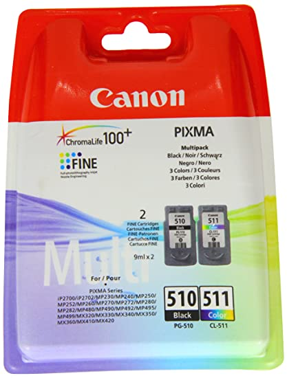 Canon PG-510+CL-511 Cartucho Multipack de tinta original Negro y Tricolor para Impresora de Inyeccion de tinta Pixma ...