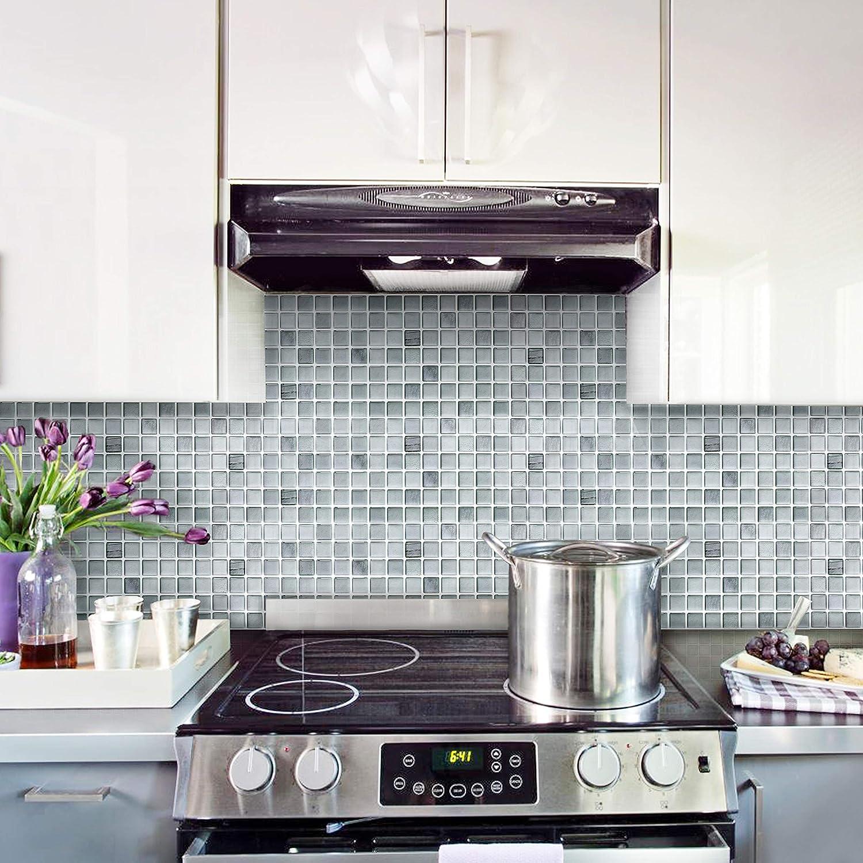 BEAUSTILE Decorative Tile Stickers Peel Stick Backsplash Fire Retardant Tile Sheet 2, 5.28 x 14.8 Monocrome