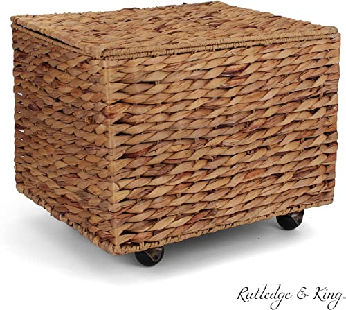 Seagrass Rolling File Cabinet – Home Filing Cabinet – Hanging File Organizer – Home and Office Wicker File Cabinet – Water Hyacinth Storage Basket for File Storage Natural