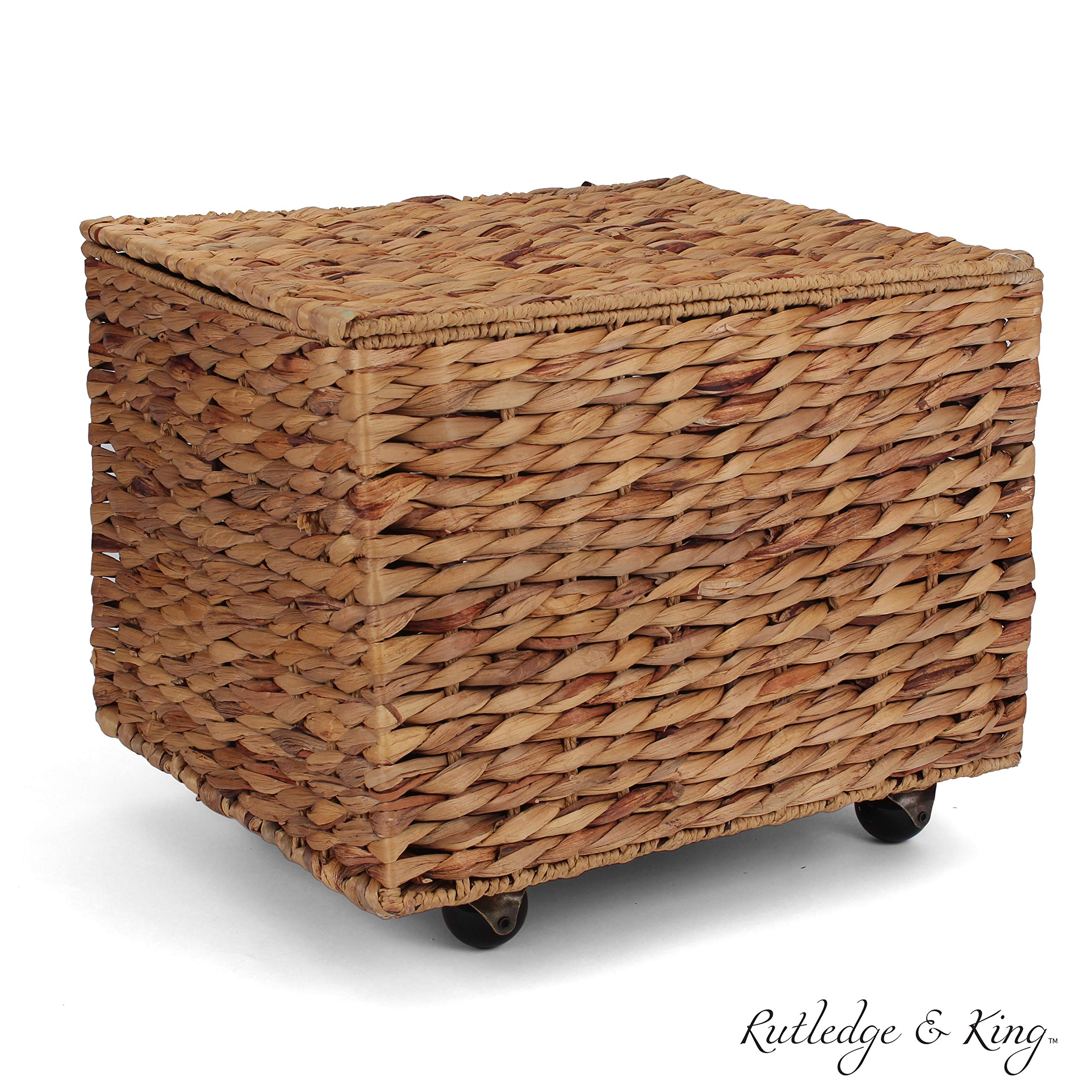Seagrass Rolling File Cabinet - Home Filing Cabinet - Hanging File Organizer - Home and Office Wicker File Cabinet - Water Hyacinth Storage Basket for File Storage (Natural) by Rutledge & King