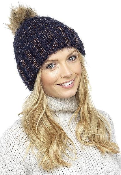 80b31ab578c Foxbury Ladies Chunky Knit Hat with Faux Fur Bobble Blue  Amazon.co.uk   Clothing