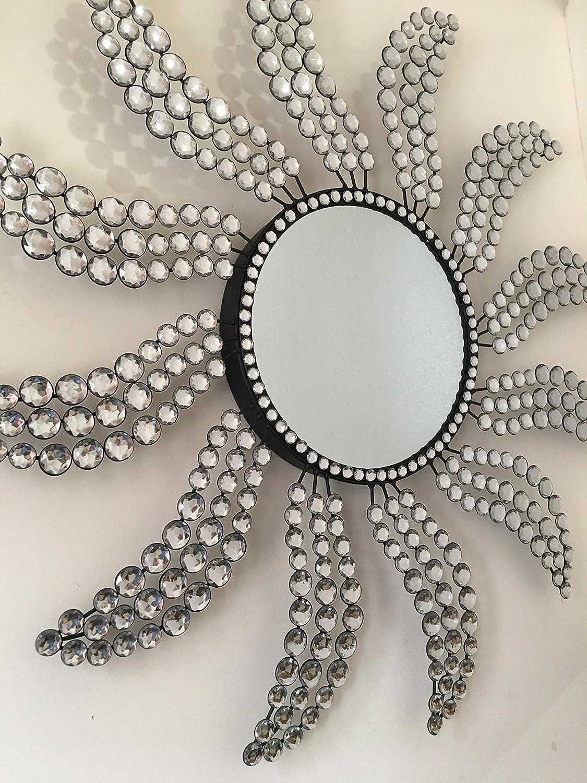 Fancy Metal Wall Sunburst Mirror Crystals Decorative Sunburst Design Living Room Kitchen