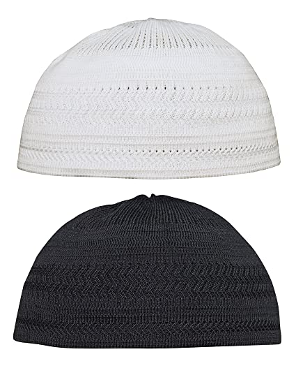 b5f5894baff Amazon.com   Set of Small Black   White Cotton Stretch-knit Kufi Hat Skull  Cap - Comfortable Fit   Everything Else