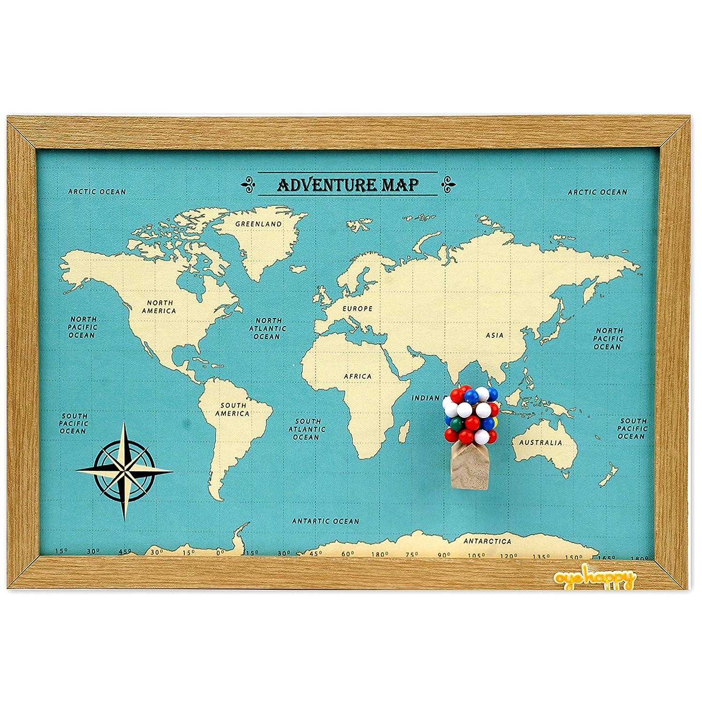 Oye Happy Wooden Multicoloured A3 World Map (12x18-inches, Multicolour)