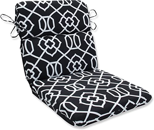 Pillow Perfect Outdoor Indoor Kirkland Round Corner Chair Cushion, 40.5 x 21 , Black