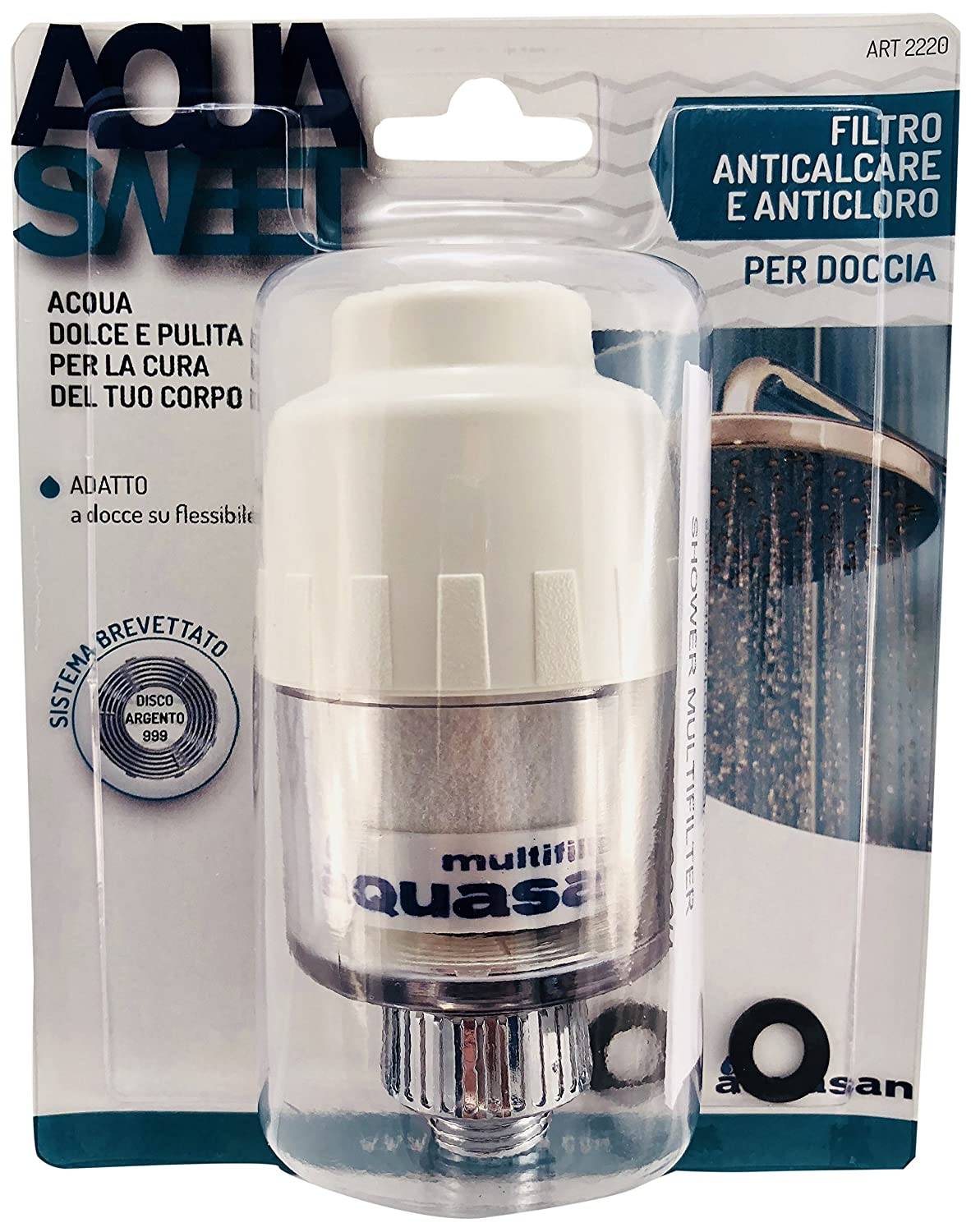 AQUASAN 2220  Anti-Scale Filter and anticloro for Shower, White