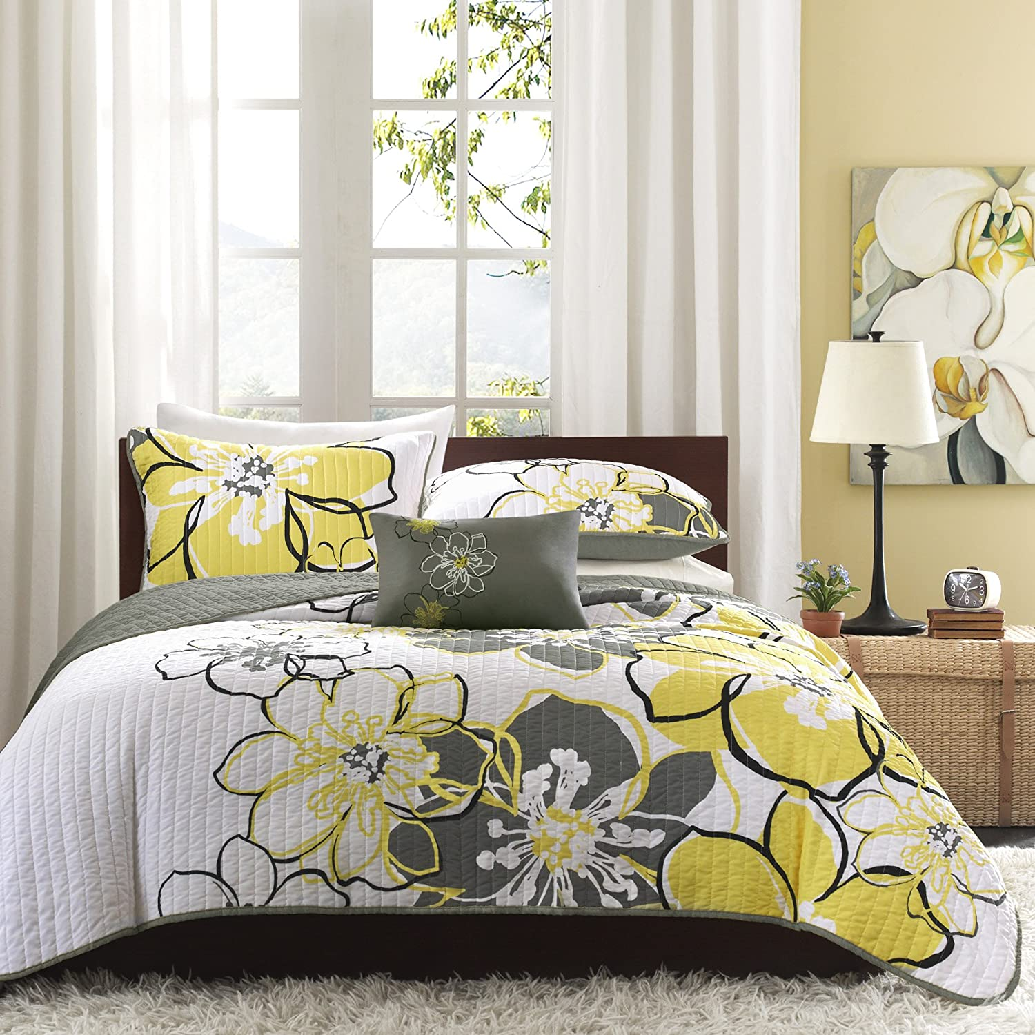 Mizone Allison 4 Piece Coverlet Set, Full/Queen, Yellow/Grey