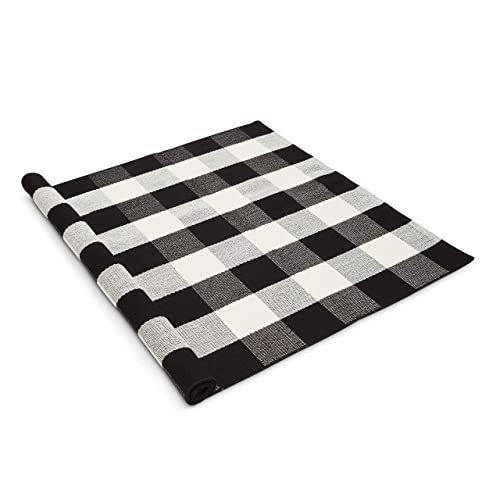 Buffalo Plaid Rug – 3x5ft – Gingham Welcome Mat – INCLUDED Non-Slip Pad – Farmhouse Doormat – Checkered Rugs – Fall Decor – Black White Washable Rug – Living Room Entryway Kitchen Outdoor Decoration
