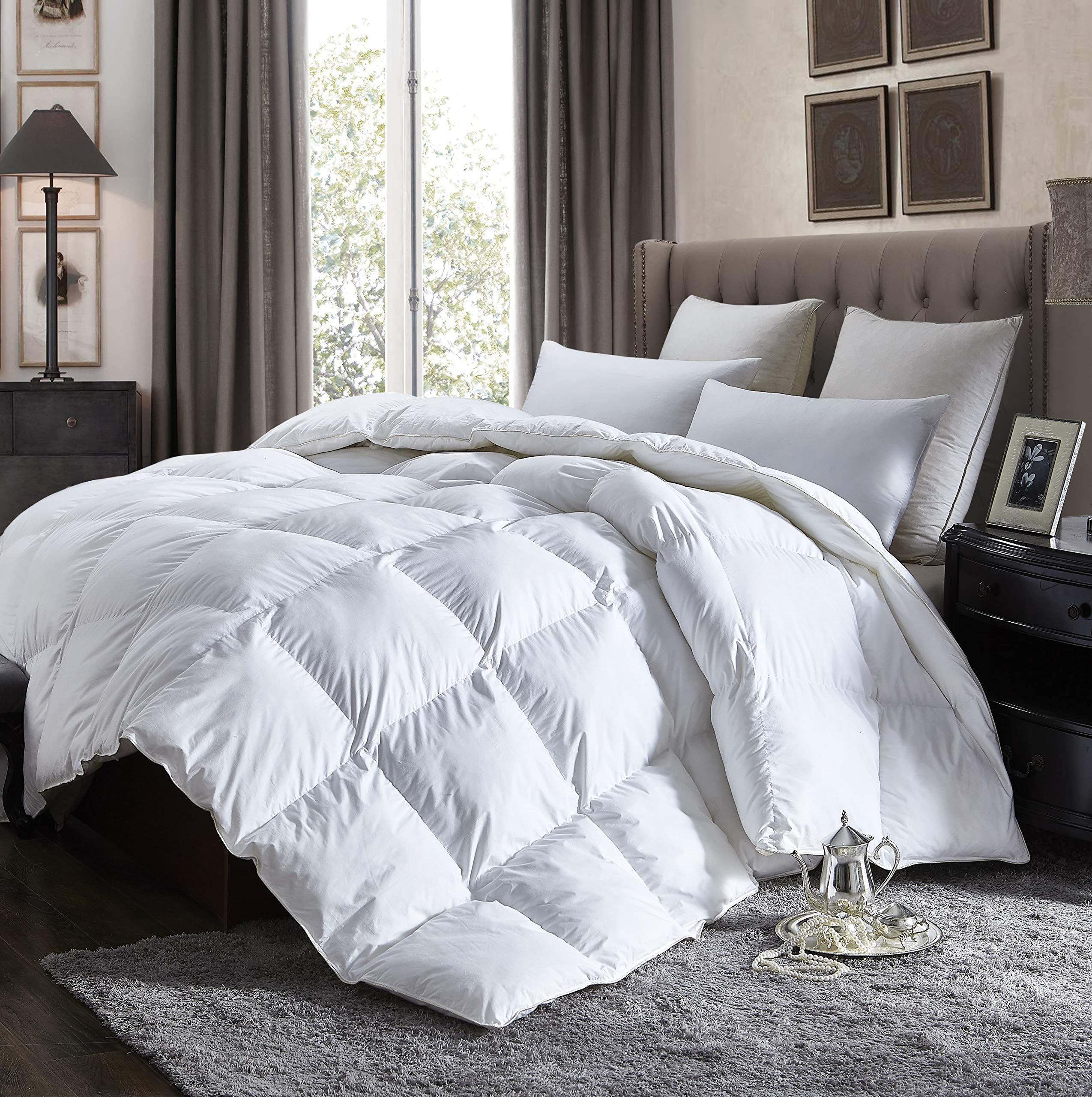 Luxurious king size lightweight goose down comforter duvet insert all season 1200 thread count 100 egyptian cotton 750 fill power 42 oz fill weight