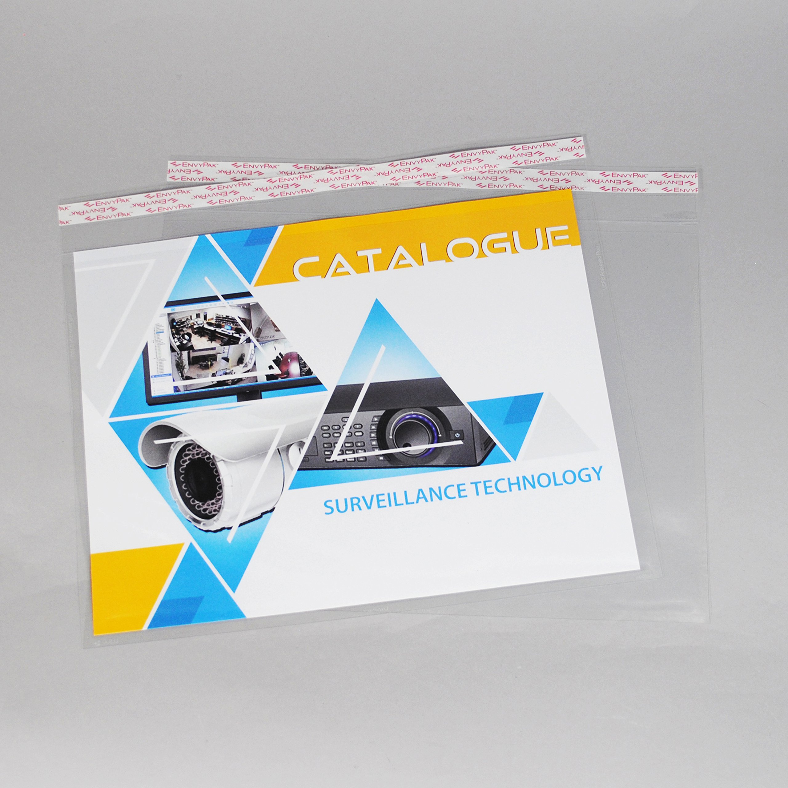 9'' x 12'' Horizontal Catalog Envelope Crystal Clear, Permanent Tape (8.5″ x 11″ Insert Size) - Box of 500