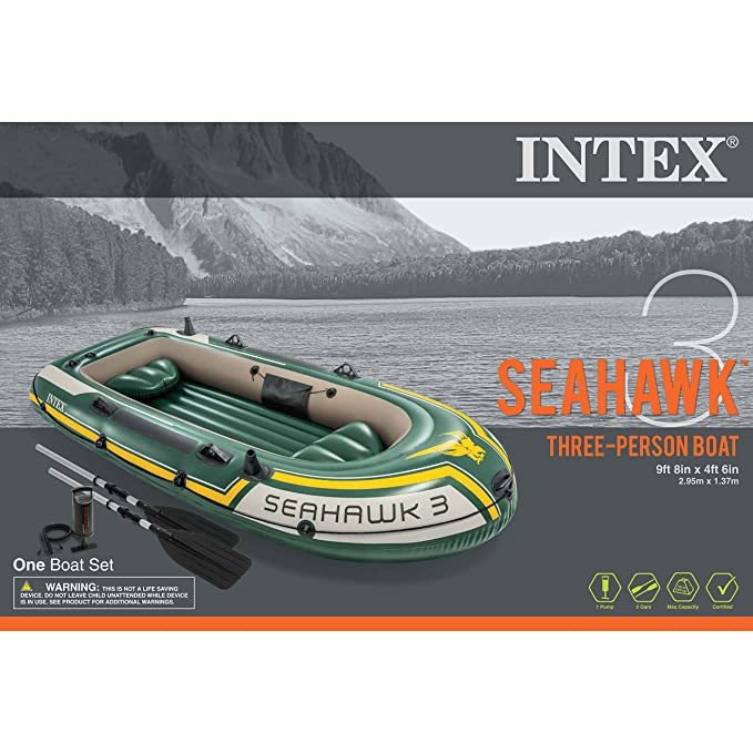 Person Oars Seahawk 33 Aluminum Intex And Boat With Set Inflatable nO8X0Pwk
