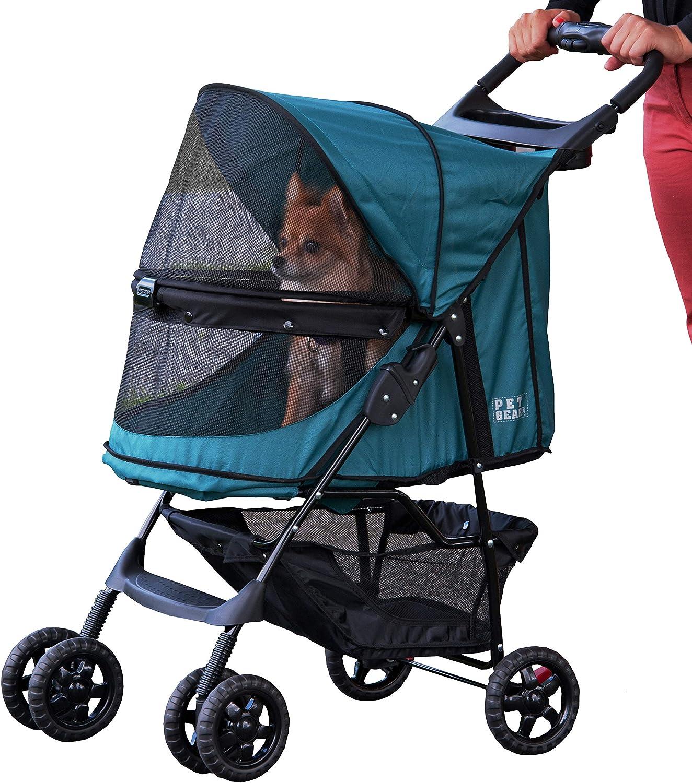 Pet Gear Happy Trails - Cochecito para gatos/perros, entrada sin cremallera, fácil de plegar con forro extraíble, cesta de almacenamiento + portavasos