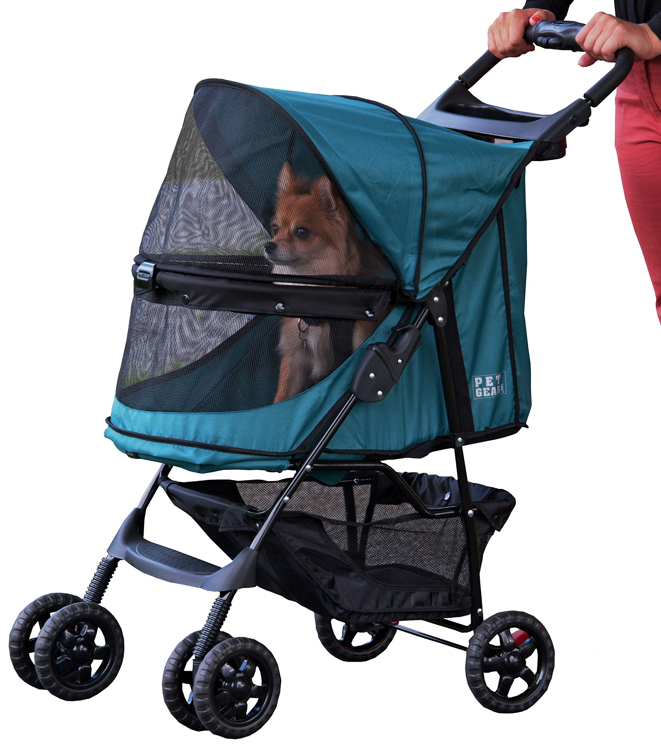 Pet Gear No-Zip Happy Trails Pet Stroller for Cats/Dogs, Zipperless Entry, Easy Fold with Removable Liner, Storage Basket + Cup Holder by Pet Gear