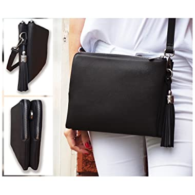 BFB Crossbody iPad Shoulder Bag & Clutch for Women - Inbuilt Travel Wallet for Credit, Business, Id Cards, Cash, Cell Phone - Plus 10 inch Tablet Sleeve – Handmade Luxury a Black