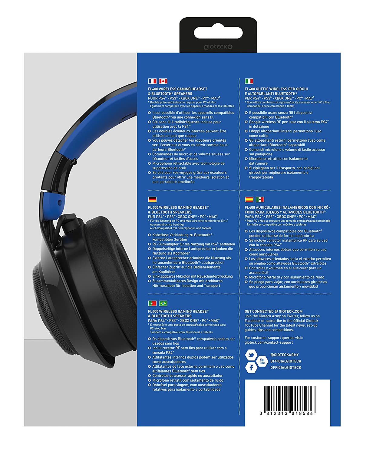 Gioteck - Auricular Flow 400 Wireless Rf, Color Negro/Azul: Amazon.es: Videojuegos