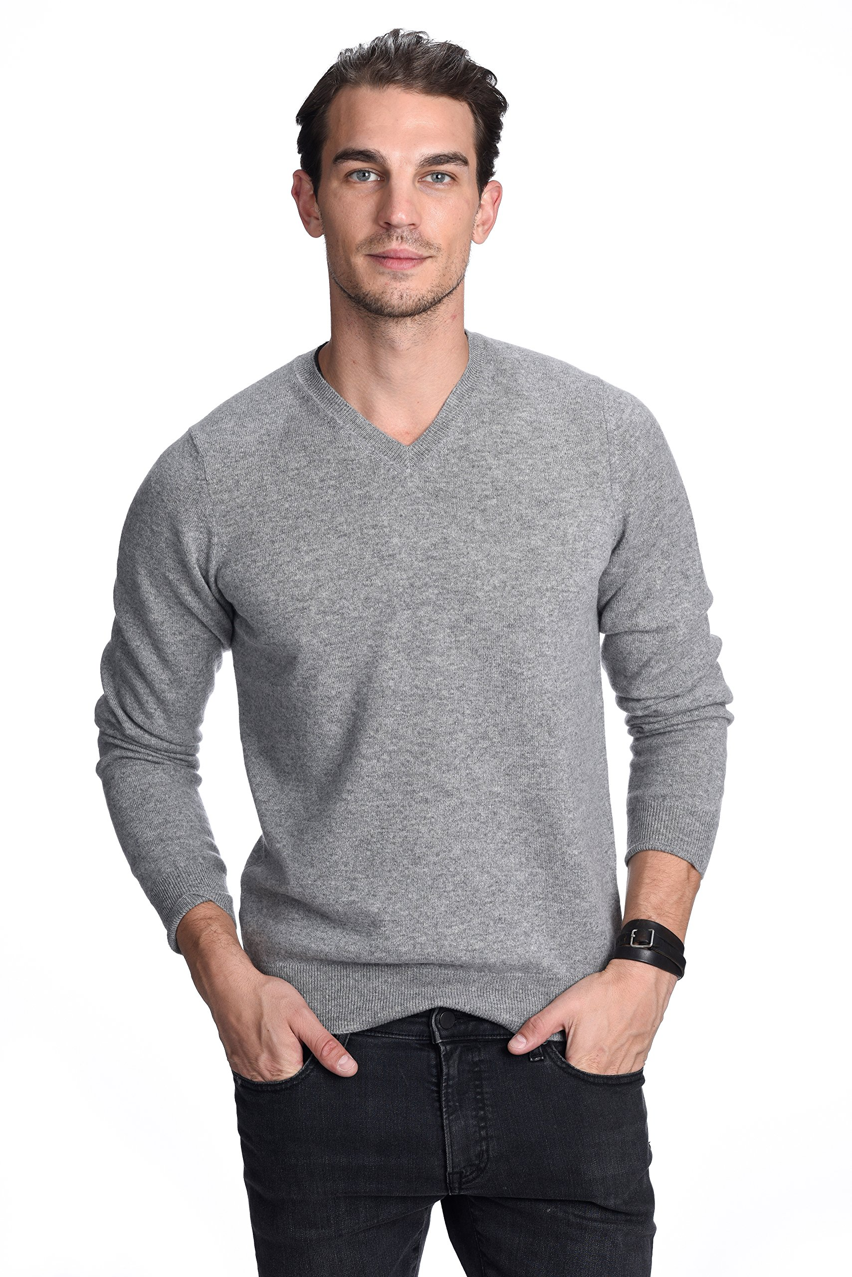State Cashmere Men's 100% Pure Cashmere Long Sleeve Pullover V Neck Sweater (Large, Heather Grey)