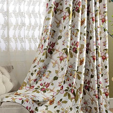 Flower Curtains Blakcout Bedroom Drapes