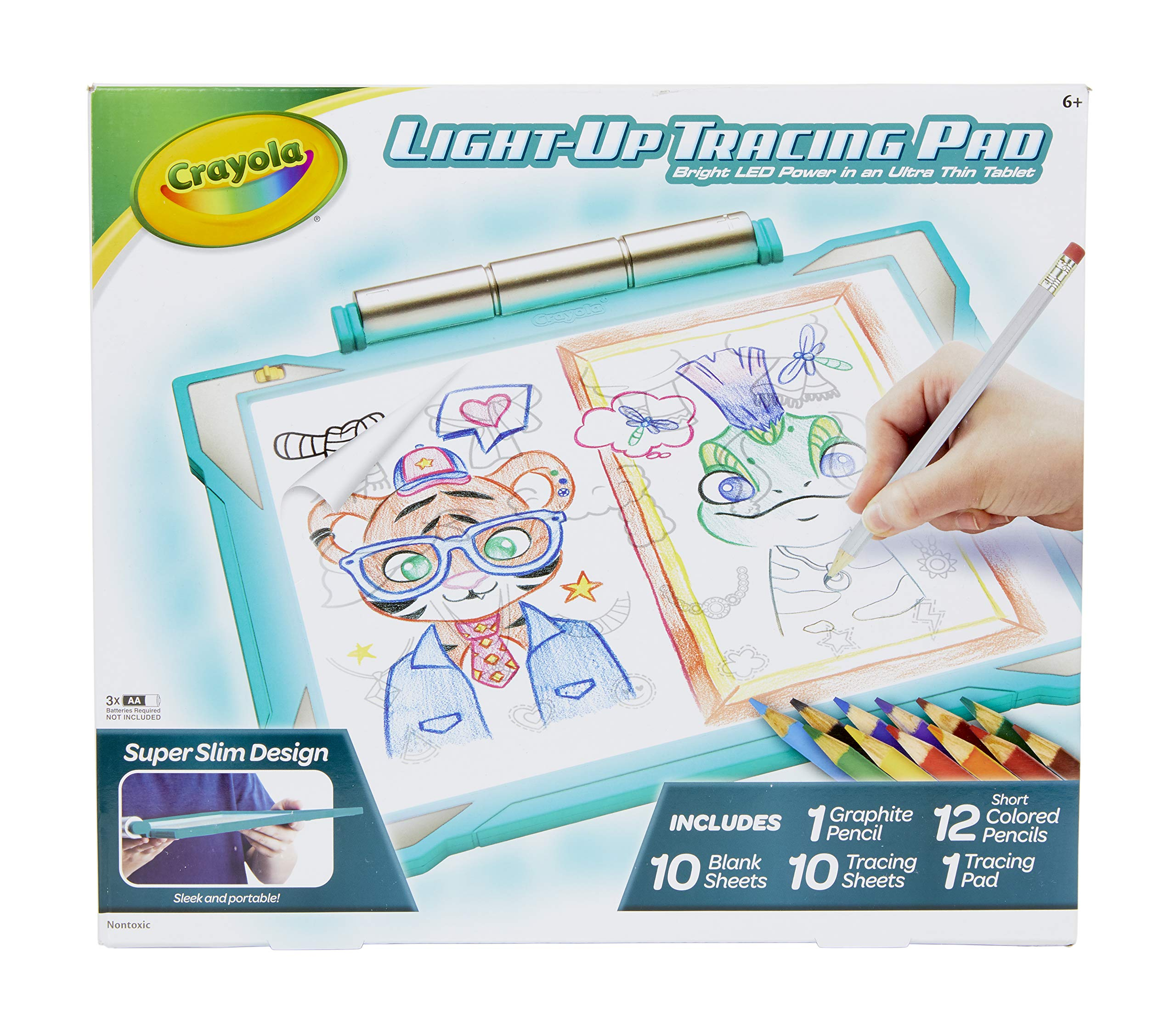 Crayola Light-Up Tracing Pad Teal, Coloring Board for Kids, Amazon, Toys for Boys, Ages 6, 7, 8, 9, 10 by Crayola