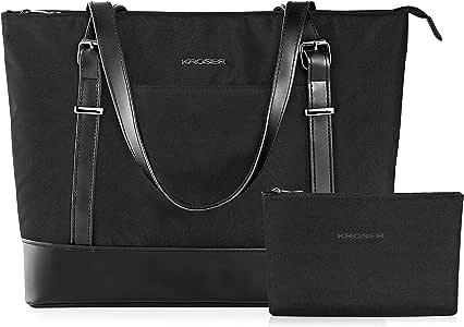 KROSER Laptop Tote Bag 15.6 Inch Large Shoulder Bag Lightweight Water-Repellent Nylon Computer Tote Bag Women Stylish Handbag for Work/Business/School/College/Travel-Black