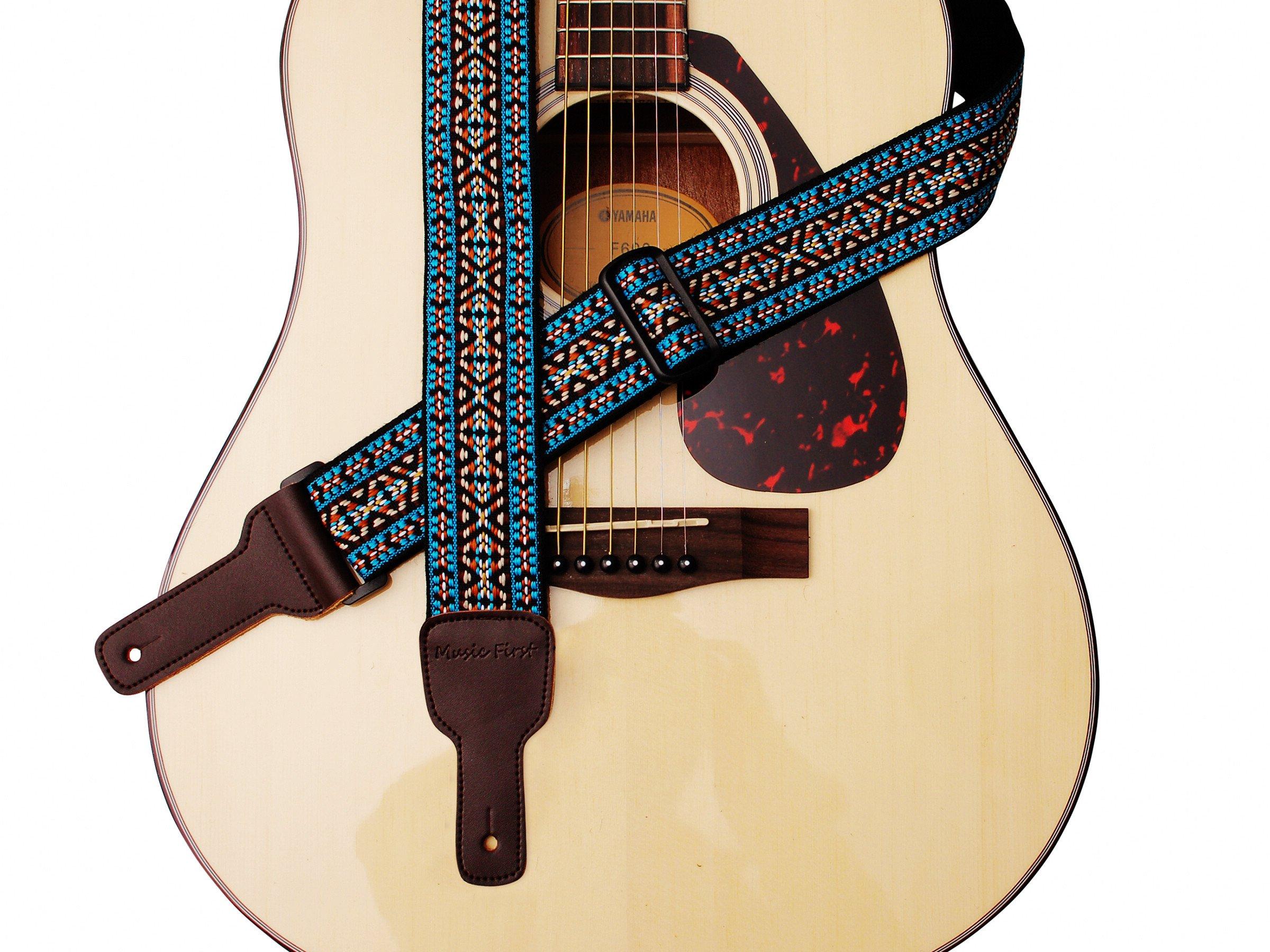 MUSIC FIRST Original Design Country style Soft Cotton & Genuine Leather Guitar Strap, Banjo Strap