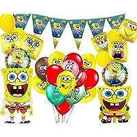 39PCS Spongebob Squarepants Party Supplies Balloons | Spongebob Theme Party | Happy Birthday Set Foil Ballons for Kids…