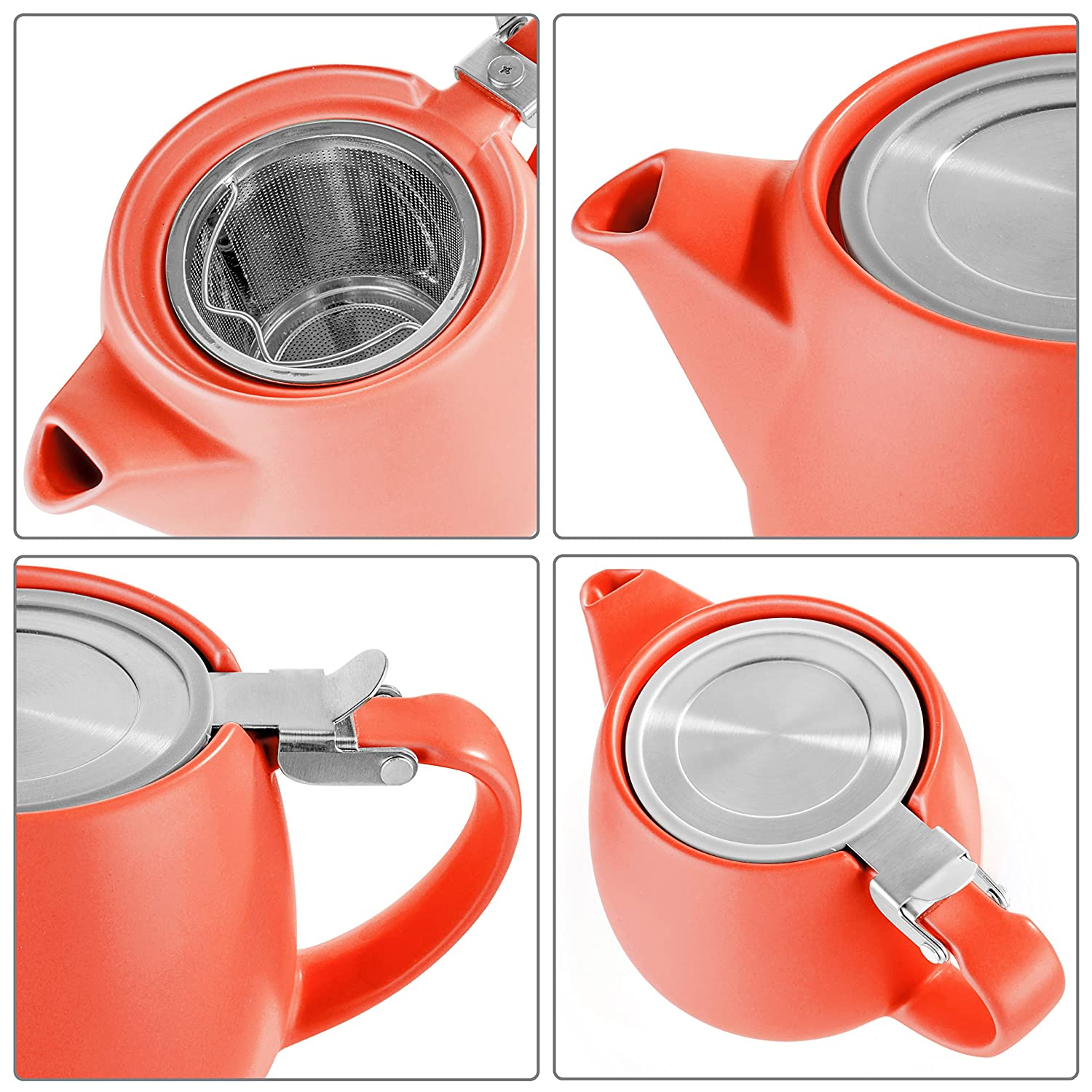 Tealyra - Pluto Porcelain Small Teapot Orange - 18.2-ounce (1-2 cups) - Matte Finish - Stainless Steel Lid and Extra-Fine Infuser To Brew Loose Leaf Tea - Ceramic Tea Brewer