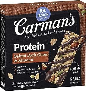 Carman's Gourmet Protein Bar Salted Dark Choc & Almond, 5-Pack (200g)