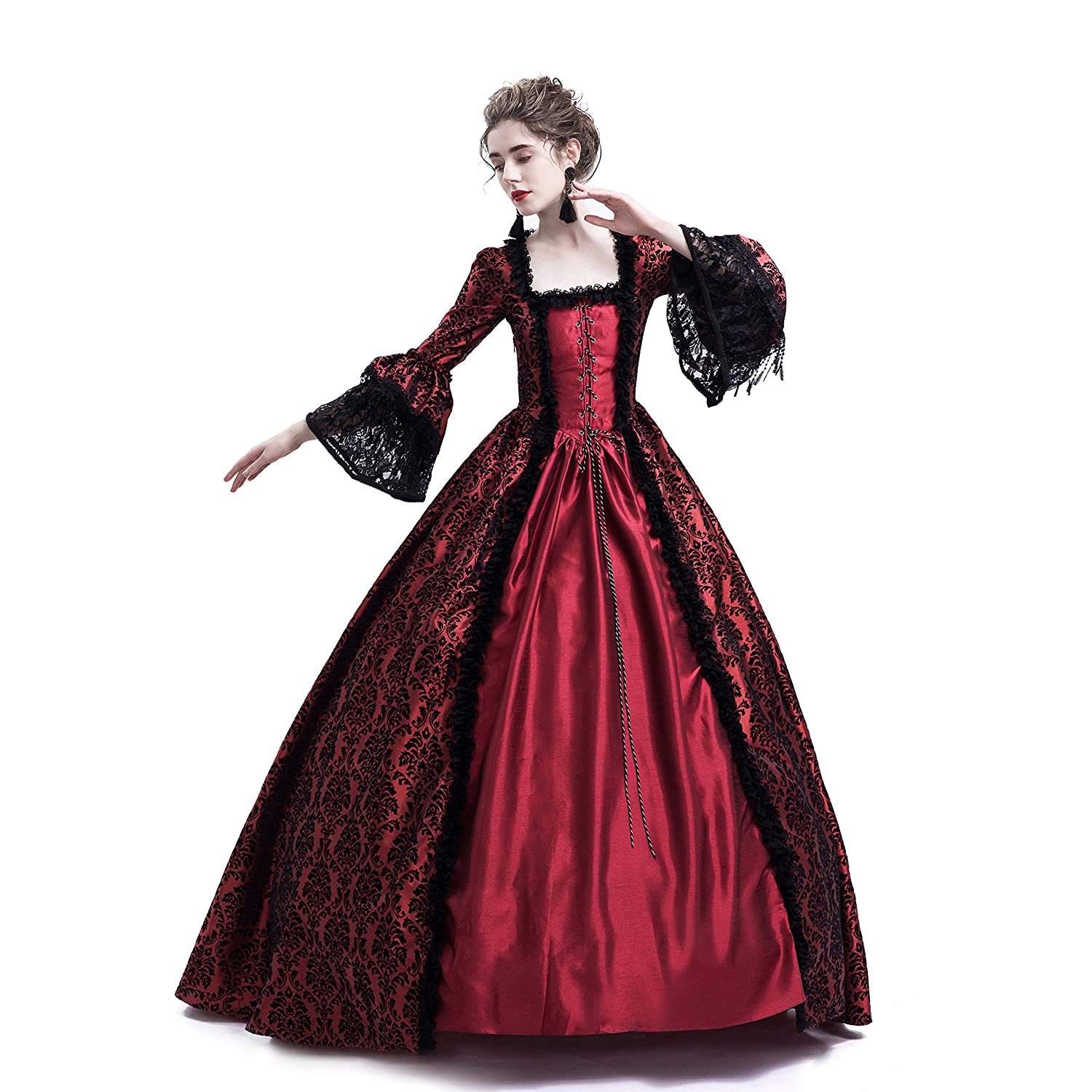 0ad3a2131f Amazon.com: D-RoseBlooming Red Masked Masquerade Ball Gown Gothic ...