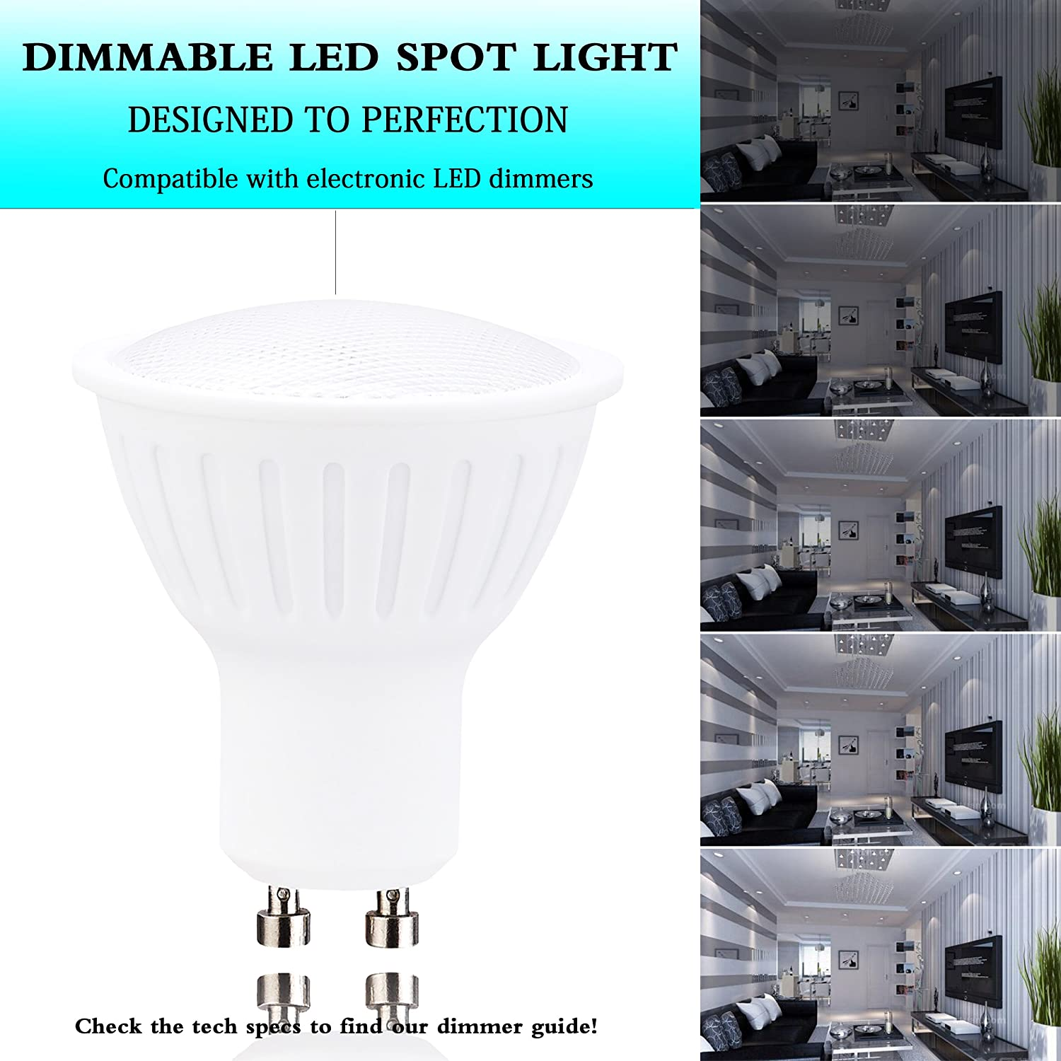 4 Pack Spotlight Recessed Dimmable,Track Lighting Replacement Wide Flood Lights,700lumens,120 Beam Angle,Warm White 2700K Lights for Ceiling Fan GU10 Led Light Bulbs 7Watt 65w Halogen Equivalent