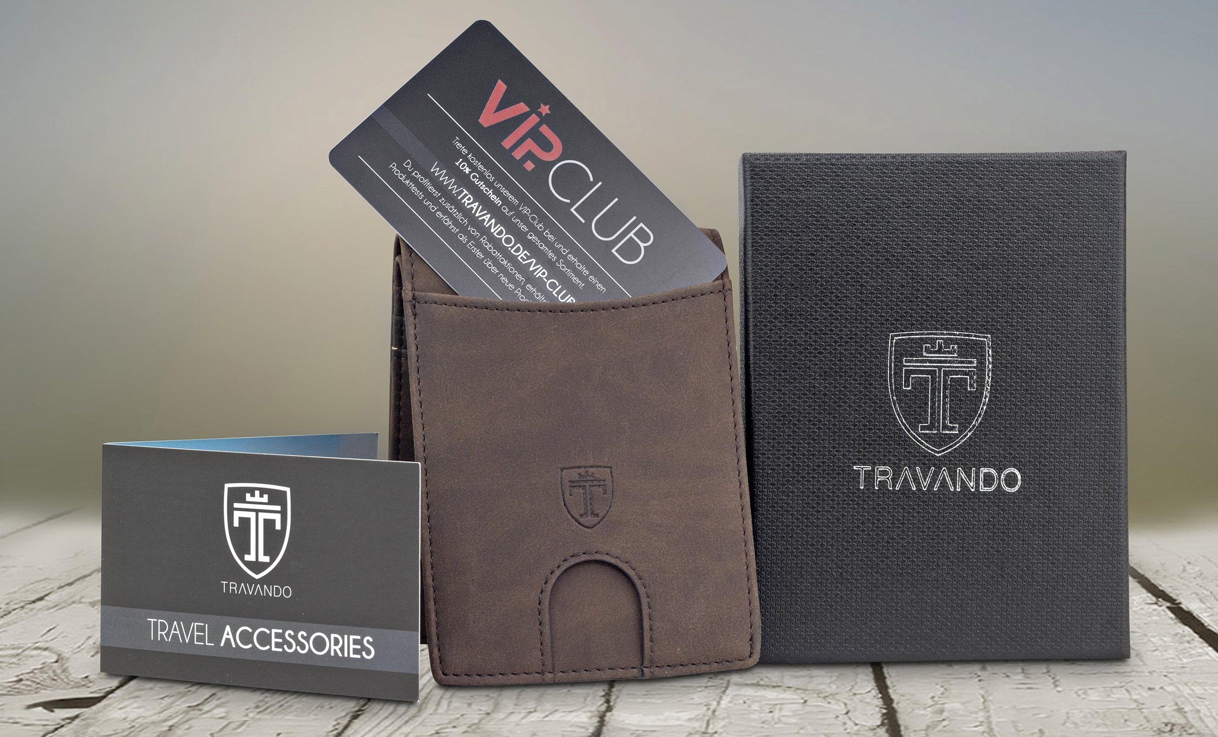 TRAVANDO Slim Wallets BUFFALO - RFID Blocking Wallet - 8 Card Pockets - Mini Credit Card Holder - Travel Wallet - Minimalist Bifold Wallet for Men with Gift Box by Travando (Image #7)