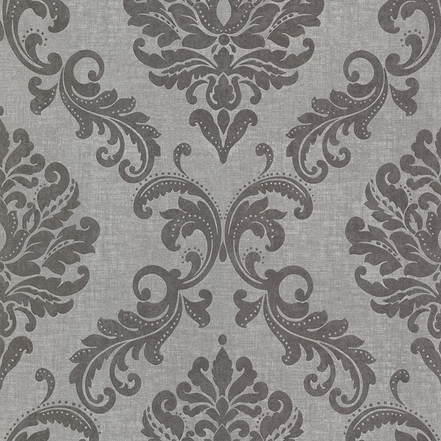 Beacon House 45067362 Sebastion Grey Damask Wallpaper Grey