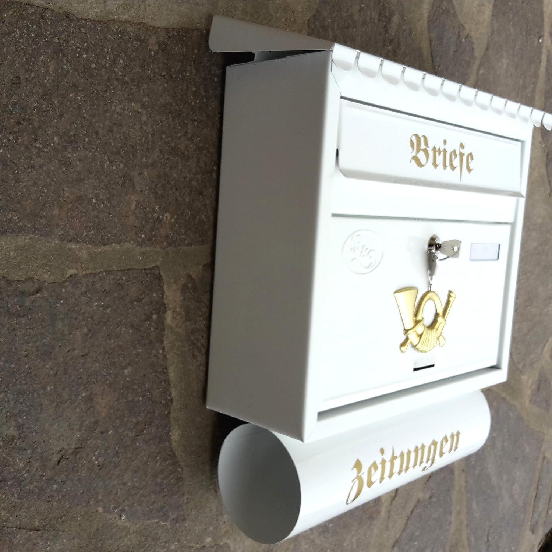 Flachdach mit Schutzlackierung Verschiedene Modelle XXL Wei/ß mit Zeitungsrolle fertig montiert Postkasten Post Premium-Qualit/ät R/&D Stabiler Briefkasten Flachdach Katalogeinwurf