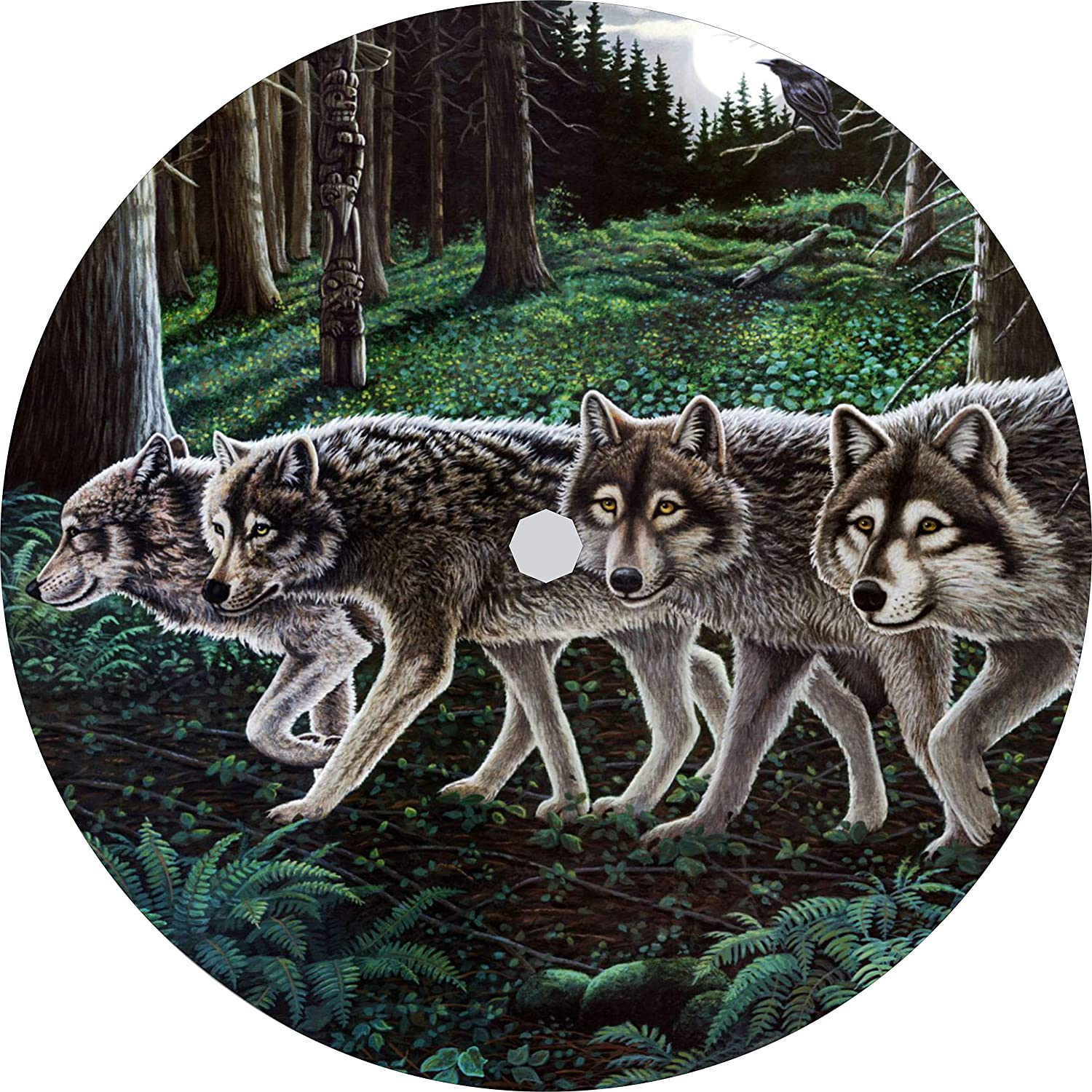 TIRE COVER CENTRAL Wolf Beneath The Raven Moon Spare Tire Cover for 315//70R17 fits Camper-Jeep-rv-Scamp-Trailer Drop Down Size menu