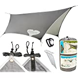 Tarp Shelter by Gnarwhal Gear - 12 x 9 Feet - Waterproof, Lightweight Rain-Fly Kit Perfect for Camping or Backpacking - Essential Hammock Tarp-Tent and Sun Shade Canopy