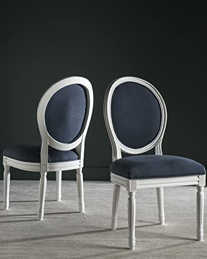Superb Safavieh Home Collection Holloway French Brasserie Navy Linen U0026 Cream Oval  Side Chair (Set Of