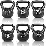 JLL® Vinyl Kettlebell Strength Training Home Gym Fitness Kettlebells (Black Colour) Ranging From 2kg, 4kg, 6kg, 8kg, 10kg & 12kg Kettlebells and Set Combinations.