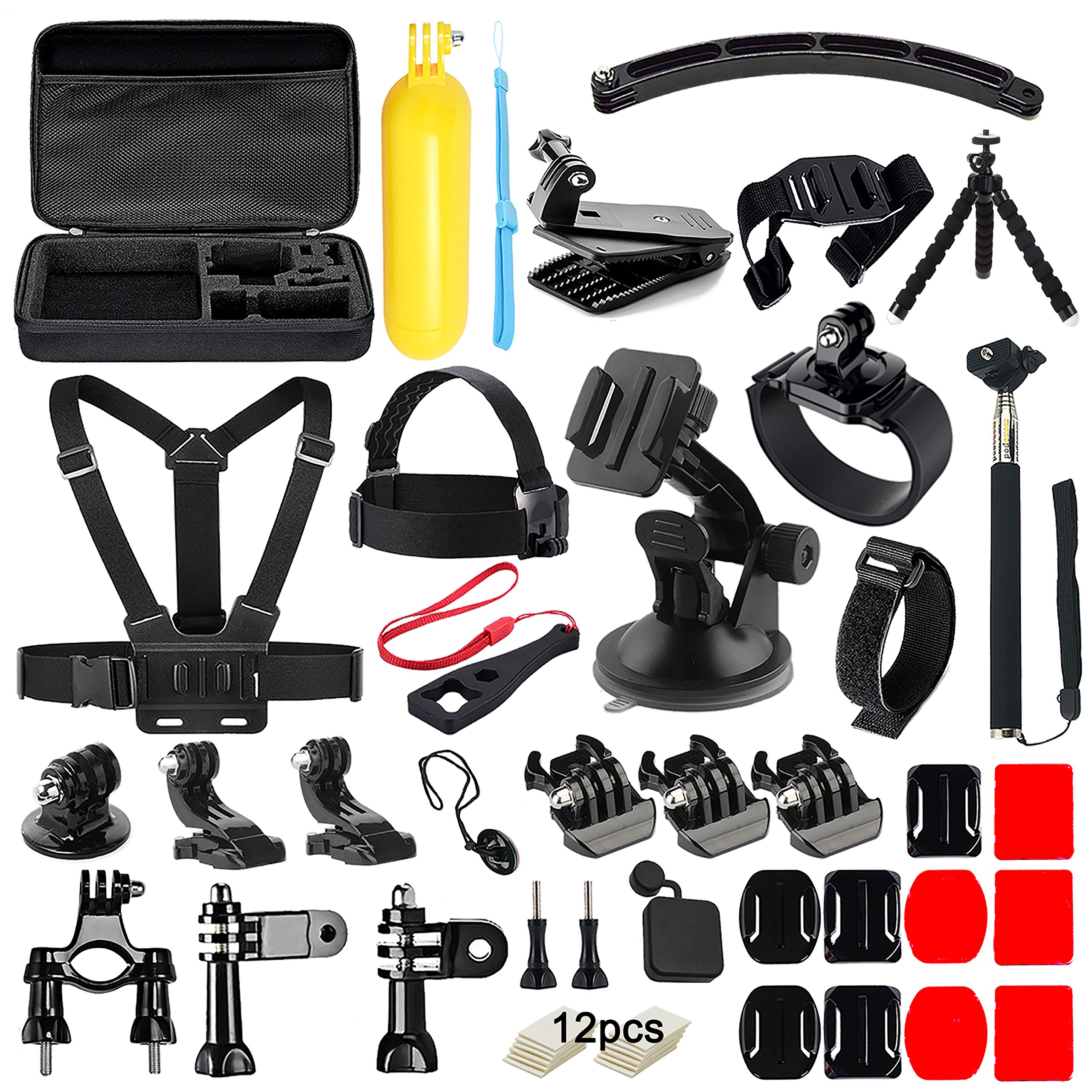 Iextreme 50 in 1 Action Camera Accessories Kit GoPro Hero 2018 GoPro Hero6 5 4 3 Carrying Case/Chest Strap/Octopus Tripod by Ietreme