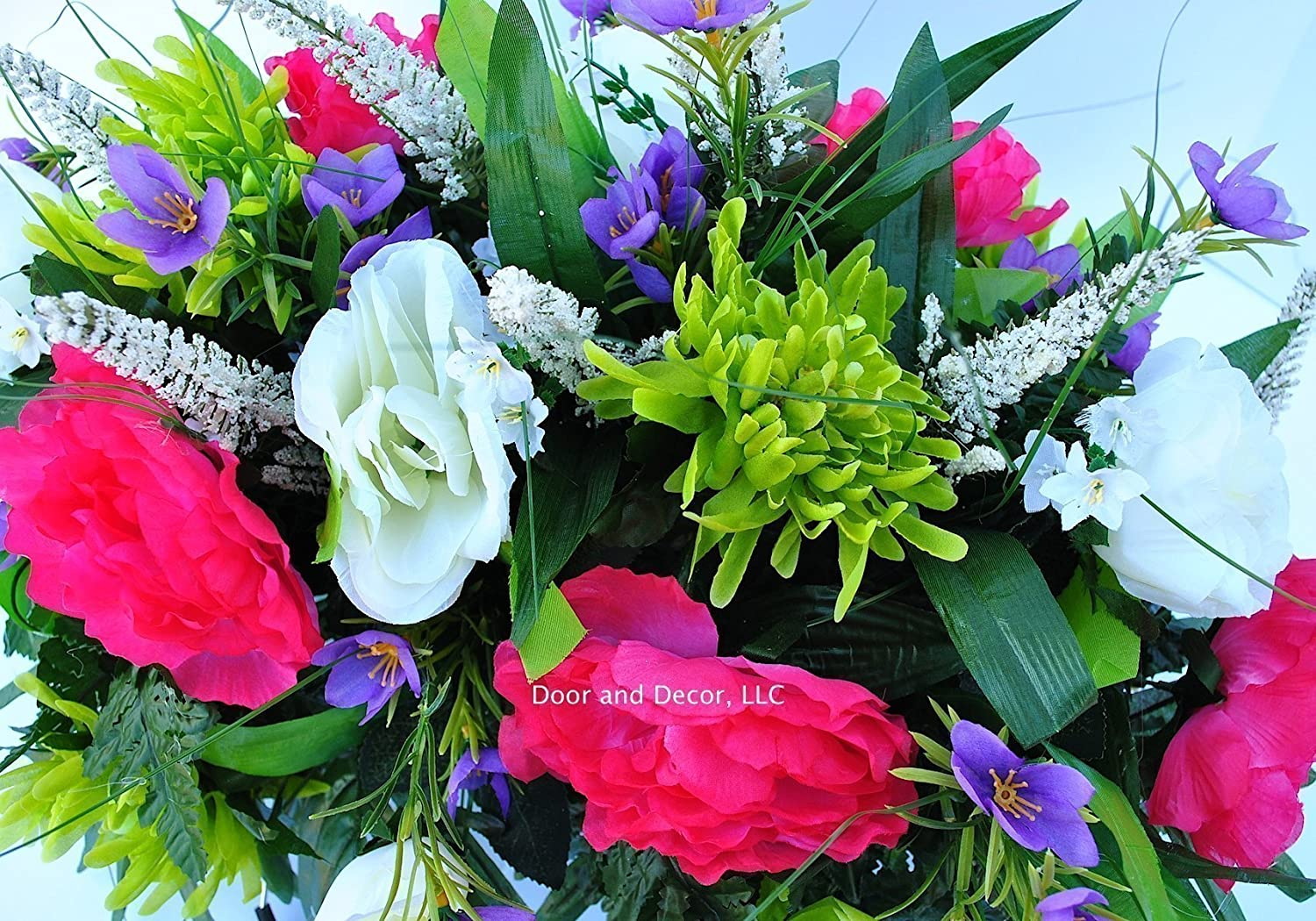 Amazon spring cemetery flowers for headstone and grave amazon spring cemetery flowers for headstone and grave decoration pink peony and white rose mix saddle handmade izmirmasajfo