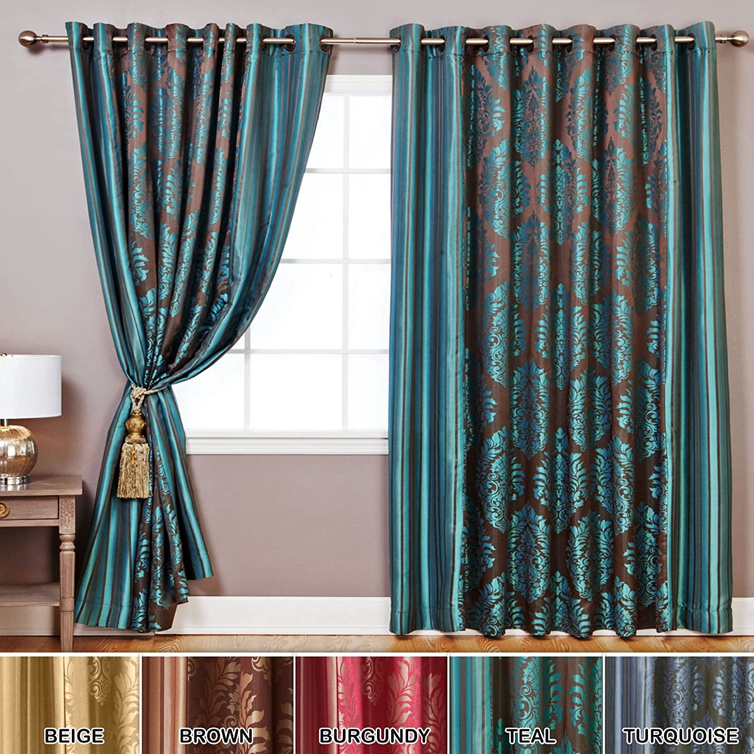 "Best Home Fashion Wide Width Damask Jacquard Curtain - Antique Bronze Grommet Top - Teal - 180"" W x84"" L - Two Panels"
