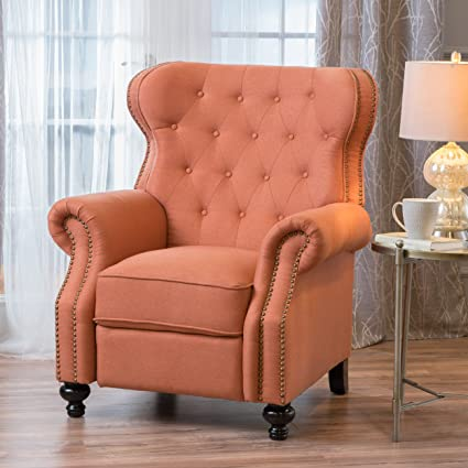 Genial Waldo Tufted Wingback Recliner Chair(Orange)
