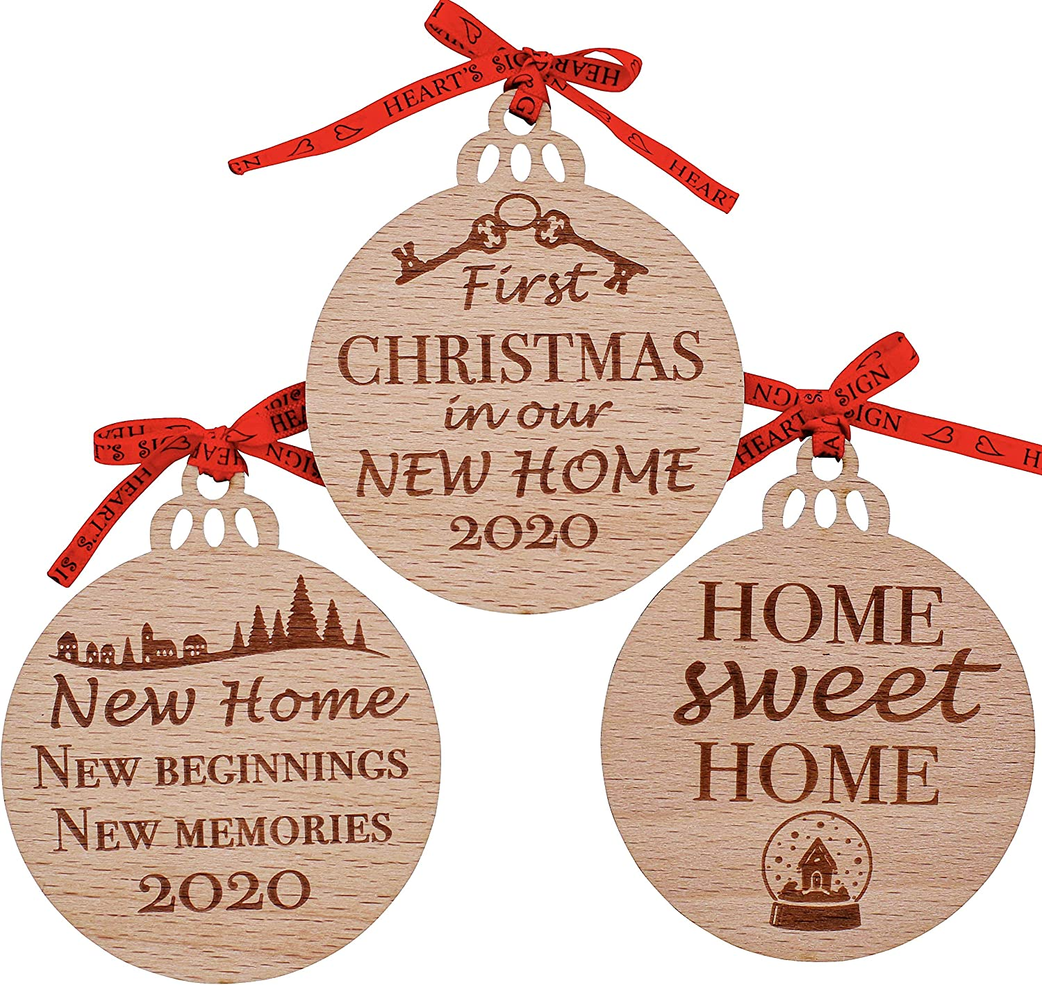 Heart's Sign First Christmas in Our New Home Ornament 2020 Set of 3 | Our First Home Ornament 2020 | New Home Gifts for Home | New House Gifts for Newlyweds Home | Our First Apartment Ornament 2020