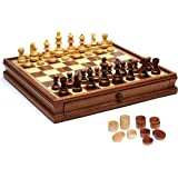WE Games French Staunton Chess & Checkers Set - Weighted Pieces, Brown & Natural Wooden Board with Storage Drawers - 15 in.
