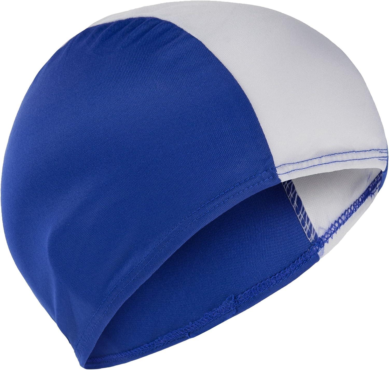 Gorro de natación de tela, para adultos y niños mayores, de Fashy , Gorro de natación, 3243, Blue & White: Amazon.es: Deportes y aire libre