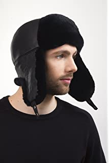 Sheared Beaver Fur Aviator Hat Black Color With Leather Saga Furs Men s 9af141ca2152