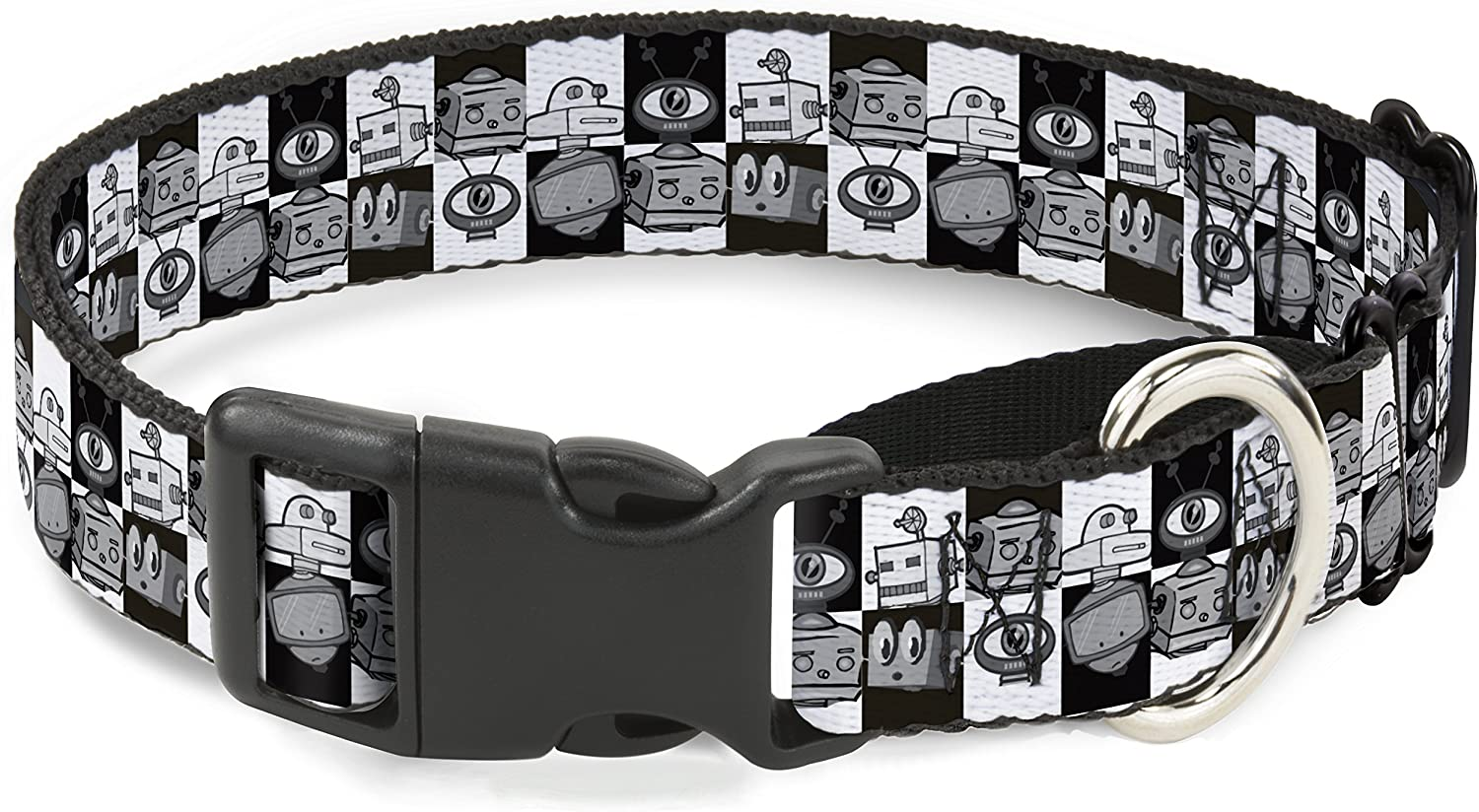 Buckle-Down Outlet SALE Robot Heads Checkers Black Cheap super special price Dog White Martingale Coll