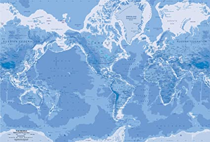 Amazon.com: Academia Mapas – Mapa del mundo – Mural, Blue ...