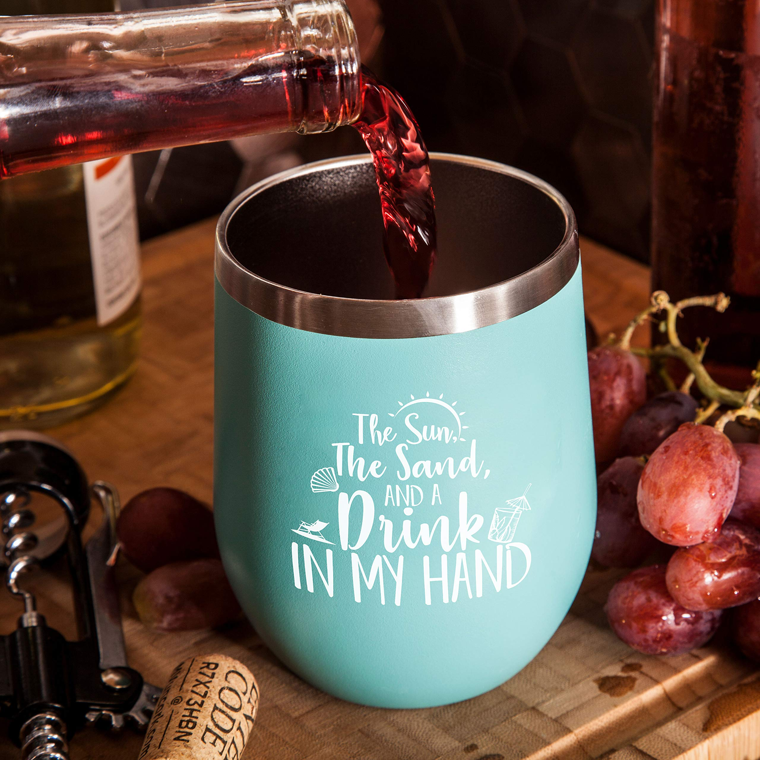 The Sun The Sand and A Drink In My Hand - Perfect Insulated Travel Cup for The Beach, Lake or Pool - 12 oz Stainless Steel Wine Glass Tumbler with Lid by Gelid (Image #4)