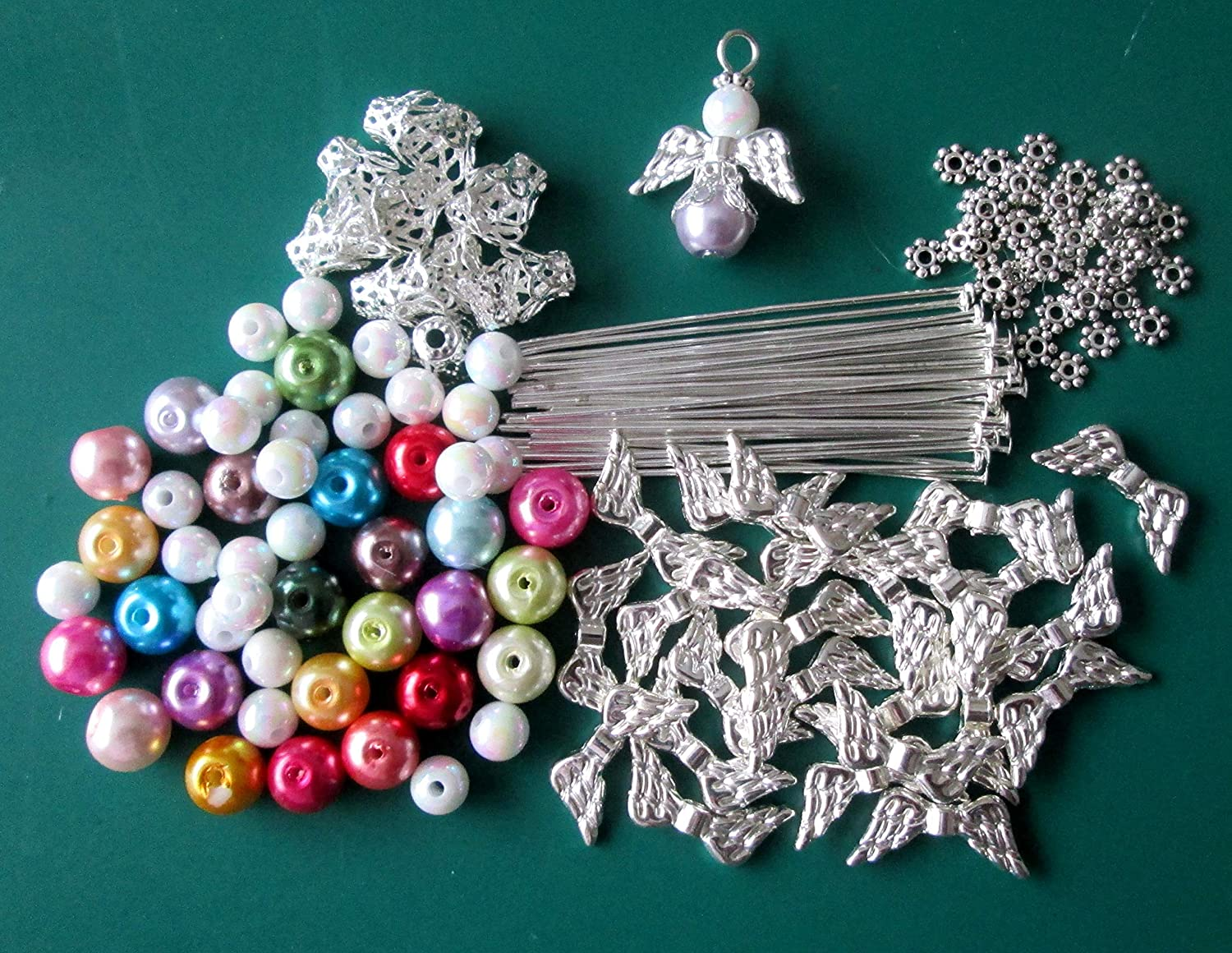 24 GLASS PEARL BEAD GUARDIAN ANGELS//FAIRY CHARMS//WINGS DIY KIT